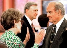 Former First Lady Nancy Reagan chats with former U.S. Sen. George S. McGovern at an event at the Ronald Reagan Presidential Library in Simi Valley; 1994.