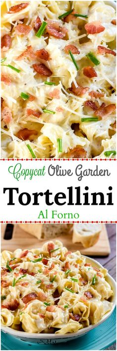This Tortellini Al Forno, a copycat Olive Garden recipe, has pillowy cheese filled tortellini in a rich parmesan cream sauce with crumbled bacon and chives. Cheese Tortellini Recipes, Pasta Recipes, Cooking Recipes, Healthy Recipes, Tortellini Soup, Tortellini Al Forno Recipe, Pasta Cheese, Sausage Tortellini, Kabob Recipes