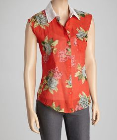 Take a look at this Red & Pink Garden Bloom Sleeveless Button-Up by Magazine Clothing on #zulily today!