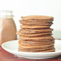 Double rich vegan and gluten free chocolate pancakes.  Won't need xantham gum if using real flour and love the idea of using the chocolate soy milk