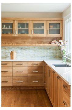 Kitchen Room Design, Kitchen Cabinet Design, Kitchen Redo, Modern Kitchen Design, Interior Design Kitchen, New Kitchen, Home Design, Kitchen Cabinets Pictures, Maple Kitchen Cabinets