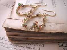 LORIEN gemstone encrusted earrings with andalusite and tourmaline $64