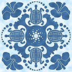 hybiscus-and-turtle-hawaiian-quilt-block-alison-stein.jpg (900×900)