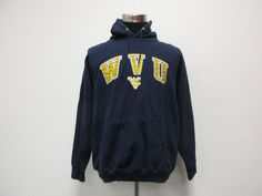 OVB NCAA West Virginia Mountaineers Hoody Sweatshirt sz L Large Blue WVU SEWN  #OVB #WestVirginiaMountaineers #Tcpkickz
