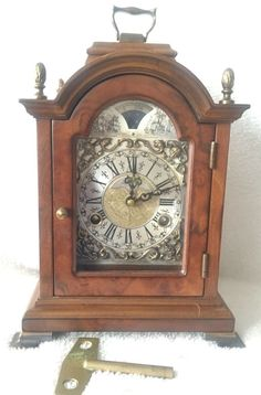 Ends today on eBay, LOW BIDS this Big Vintage Dutch Warmink Nut Wood Chime Bracket Mantel Shelf Clock Moon Phase
