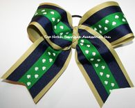 Items similar to Shamrock Cheer Bow, Fighting Irish Clip, Navy Green Gold Ribbon Softball Bow, Notre Dame Football Cheerleader Bows, Green Shamrock Hair Bow on Etsy Big Cheer Bows, Cheer Hair Bows, Cheerleading Bows, Football Cheerleaders, Softball Bows, Pixie Cut Round Face, Softball Hairstyles, Gold Hair Clips, Notre Dame Football