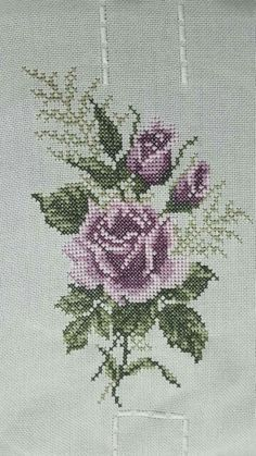 This Pin was discovered by Ilk Mini Cross Stitch, Cross Stitch Rose, Cross Stitch Flowers, Beaded Embroidery, Cross Stitch Embroidery, Embroidery Patterns, Hand Embroidery, Funny Cross Stitch Patterns, Purple Roses