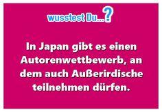 ...dass es in Japan einen Autorenwettbewerb, auch für Außerirdische, gibt? -  http://www.wusstest-du.com/wp-content/uploads/2016/06/außerirdische-autoren.jpg - http://www.wusstest-du.com/dass-es-in-japan-einen-autorenwettbewerb-auch-fuer-ausserirdische-gibt/