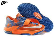 finest selection cc763 0fc6d Mens Nike Kevin Durant KD 7 Basketball Shoes Orange Blue White,Wholesale  Cheap Nike,