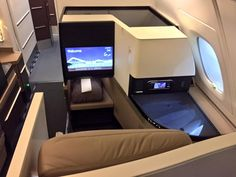Etihad's brand new Airbus A-380-800 - Business Class Seat. Dec 2014.