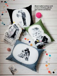 photo pillows inspiration only Diy Projects To Try, Sewing Projects, Craft Projects, Photo Pillows, Diy Pillows, Diy Photo, Photo Craft, Homemade Gifts, Diy Gifts