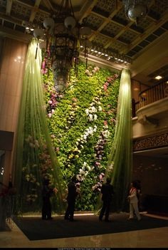 """pavahandbags: Another stunning """"living wall"""" by vertical garden designer Patrick Blanc takes our breath away. This installation at the National Theater in Taipei, called """"Butterfly Dance"""". Jardin Vertical Artificial, Vertical Garden Design, Vertical Gardens, Art Et Nature, Floral Backdrop, Walled Garden, Midsummer Nights Dream, Floral Wall, Ikebana"""