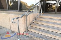 Stainless Steel Rod Balustrade:-Stainless steel double flat bar posts with pin & OD top rail with OD horizontal rod infills. Stainless Steel Balustrade, Stainless Steel Rod, Metal Working, Stairs, Design, Stairway, Metalworking, Stainless Steel Bar