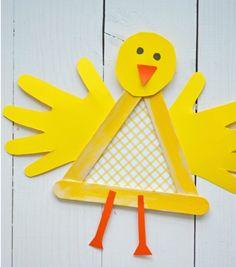 Popsicle Stick Baby Chicken Craft | AllFreeKidsCrafts.com