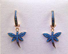 Dragonfly Earrings Sterling Silver With Turquoise Stone, Drop Earrings, Small Silver Earrings, Small Drop Earrings