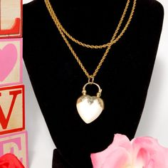 1980's Costume Jewelry Pearlized Heart Enhancer by StagingGraces, $10.00