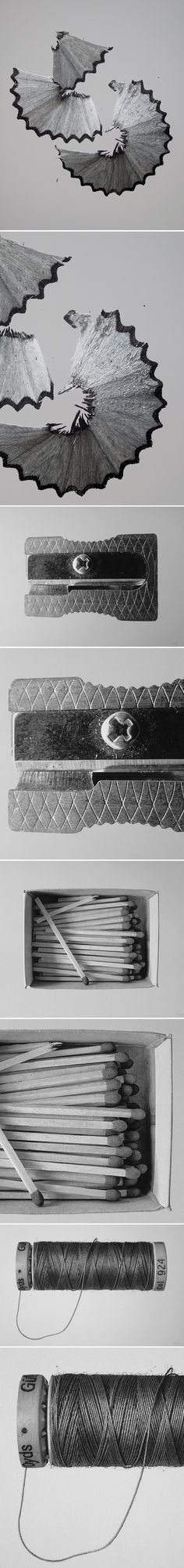 Lovely black and white photographs of mundane objects… NOPE! Large-scale, mixed media DRAWINGS of mundane objects! What?! This is the pencil & acrylic work of Spanish artist Rómulo Celdrán. Some of these pieces are up to 69″ wide… like those pencil shavings. Oh, those pencil shavings. I cannot even imagine being able to draw like that. Love.