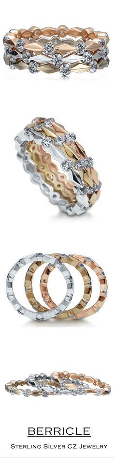 Sterling Silver 925 Tricolor Cubic Zirconia CZ 3pcs Eternity Ring Set