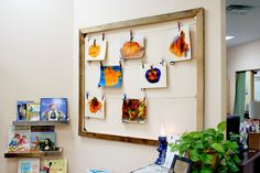 Gallery Line for displays--much more attractive than bulletin board covered with butcher paper