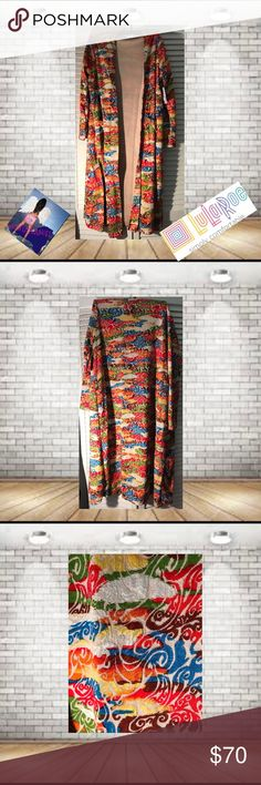 Lularoe Sara Duster Jacguard Pattern Size L NWT Lularoe Sara Duster Jacguard Pattern Size L NWT . Large Equals Size 14-16. Super Comfortable. perfect For Fall! 🚫trades. Please ask all questions prior to buying LuLaRoe Jackets & Coats