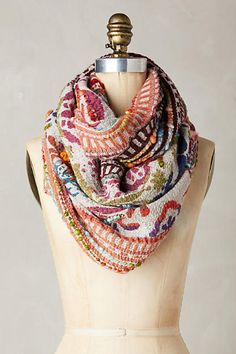 Anthropologie Caravan Embroidered Infinity Scarf.  So many colors to love in this scarf!  It really would go with anything!  (aff)
