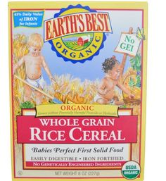 Certified Organic Natural Whole Grain Rice Cereal 8 oz (227 g) Baby Solid Food…