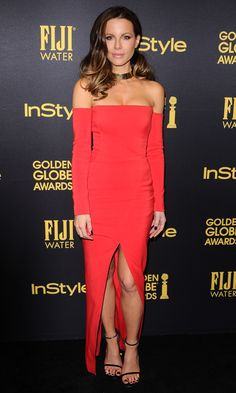 Kate Beckinsale in a red off-the-shoulder dress and gold choker
