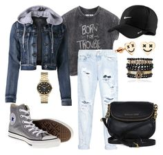 """""""shine like gold✨"""" by katarinadjuric24 ❤ liked on Polyvore featuring LE3NO, Converse, NIKE, One Teaspoon, Marc by Marc Jacobs, Samantha Wills and Michael Kors"""
