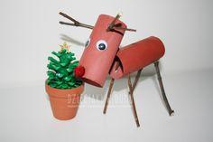Paper roll reindeer craft for kids / renifer z rolek - pomysł na pracę techniczną dla dzieci