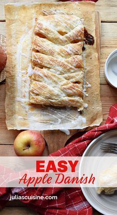 This is such an Easy Apple Danish to make. Using frozen puff pasty and then a home made apple filling topped off with a sweet glaze. Perfect for an easy dessert or even weekend brunching. Apple Danish, Easy Recipes, Easy Meals, Gluten Free Pastry, Apple Filling, Christmas Brunch, Recipe Today, Tray Bakes, Easy Desserts