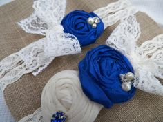 Garter Set in Saphire Blue and Ivory on by CherryBlosomBoutique, $40.95