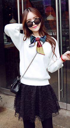 Fashiontroy  Street style long sleeves crew neck gray white neck-tie cotton blend sweater