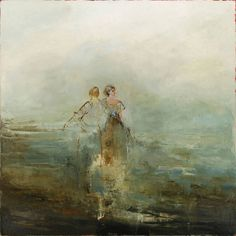 "France Jodoin, ""Hidden under the dove's wing"", 2013, oil on linen, 54 x 54 inches"