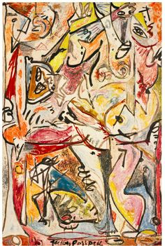 Jackson Pollock, The Blue Unconscious, 1946 abstract impresionism Action Painting, Jackson Pollock Mural, Giacometti, Famous Artists Paintings, Art Paintings, Pollock Paintings, Lee Krasner, Tachisme, Max Ernst