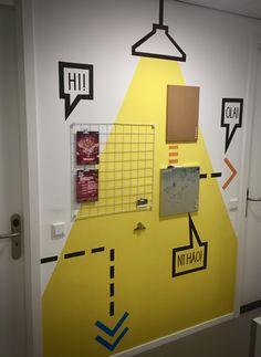 www.drawink.nl #mural #grapic #interaction #hallwaybulletin Illustration, Design, Illustrations