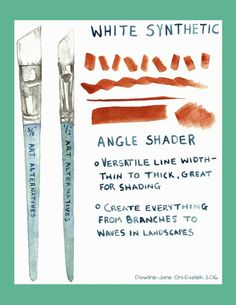 Good overview of different brush shapes, featuring Art Alternatives white synthetic brushes.