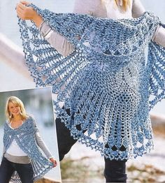 Circular crochet vest:  There is a Free diagram pattern here.  Looks pretty simple, love this one.  Is it wrong to admit I might mix it up a bit and use it for a tree skirt?