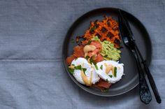 Sweet potato waffles w/smoked salmon and poched egg | paleo food