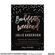 BACHELORETTE WEEKEND ITINERARY // BLACK invitation