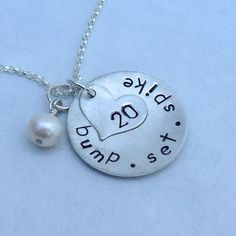 Bump Set Spike Personalized Sterling Silver Volleyball Charm Necklace on Etsy, $42.00