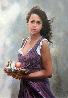 """The Hummingbird Feeder"" - Ardith Starostka, oil on linen panel {contemporary figurative artist beautiful brunette female standing young woman painting #loveart} starstudioarts.com"