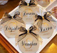 Cricut vinyl on glass ornaments