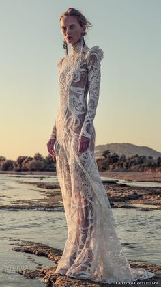 christos costarellos fall 2017 bridal long sleeves high neck full embellishment lace embroidery lace elegant sophiscated sheath wedding dress sweep train (08) mv