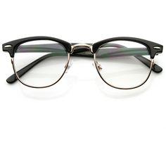 Vintage Optical RX Clear Lens Clubmaster Wayfarer Glasses 2946 49mm (34 BRL) ❤ liked on Polyvore featuring accessories, eyewear, eyeglasses, glasses, sunglasses, fillers, tortoise eyeglasses, tortoiseshell eyeglasses, clear eyeglasses and vintage tortoise shell eyeglasses