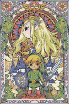FREE Zelda Stained Glass Cross Stitch Pattern