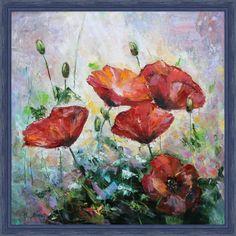"Маки. Олеся Лопатина. Холст на картоне 40*40см, масло. 2017.  Oilpainting ""Poppies"" by Olesya Lopatina. Canvas 40*40cm. 2017."