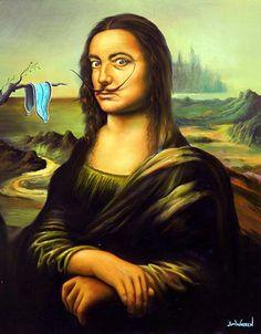 Salvador Dalí by Jim Warren | Mona Lisa (c.1503-19) by Leonardo da Vinci