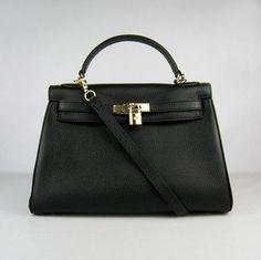 Hermes Kelly 32CM courroie d'épaule Black Gold | leather handbags and purses