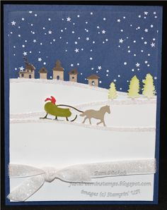 Just Dreamin' Stamps: Christmas Holiday Blog Hop. Pam Nichols. Stampin Up Sleigh Ride sizzix edgelits. Christmas card