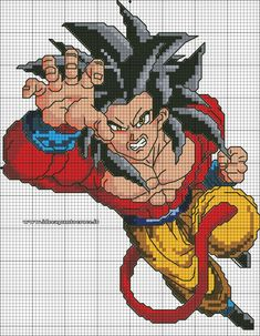 Super Saying 4 Goku Plastic Canvas Ornaments, Plastic Canvas Patterns, Cross Patterns, Counted Cross Stitch Patterns, C2c Crochet Blanket, Pixel Art Grid, Anime Pixel Art, Pixel Pattern, Minecraft Pixel Art